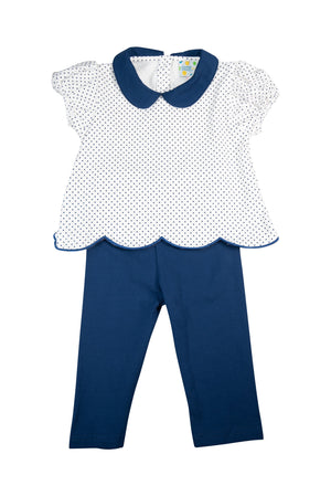 Girls Simply Knit Navy Pants Set