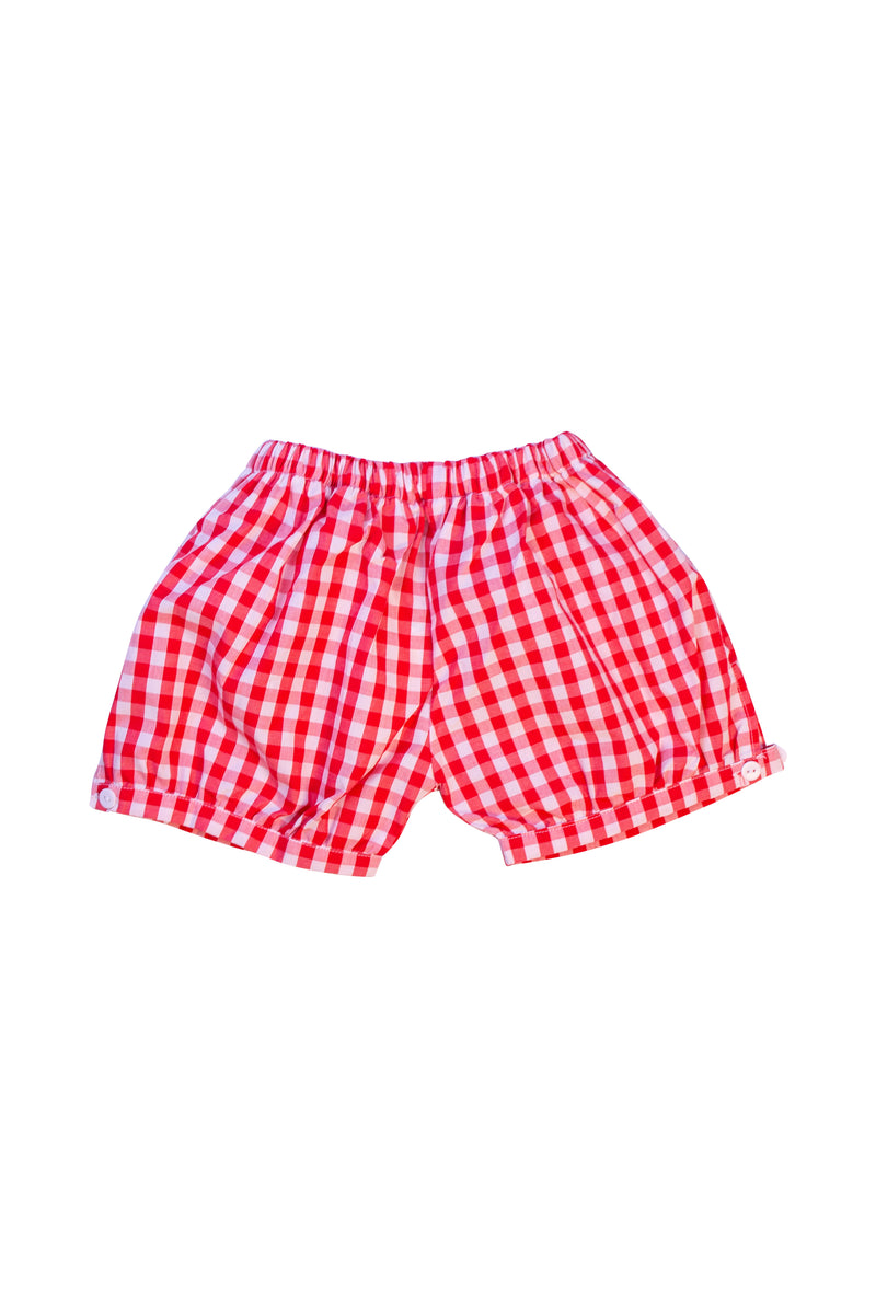 Unisex Red Gingham Banded Shorts