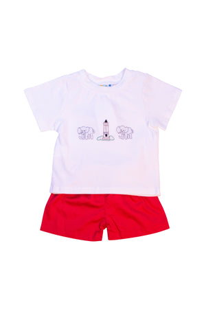 Boys Embroidered Elephant and Denny Chimes Short Set
