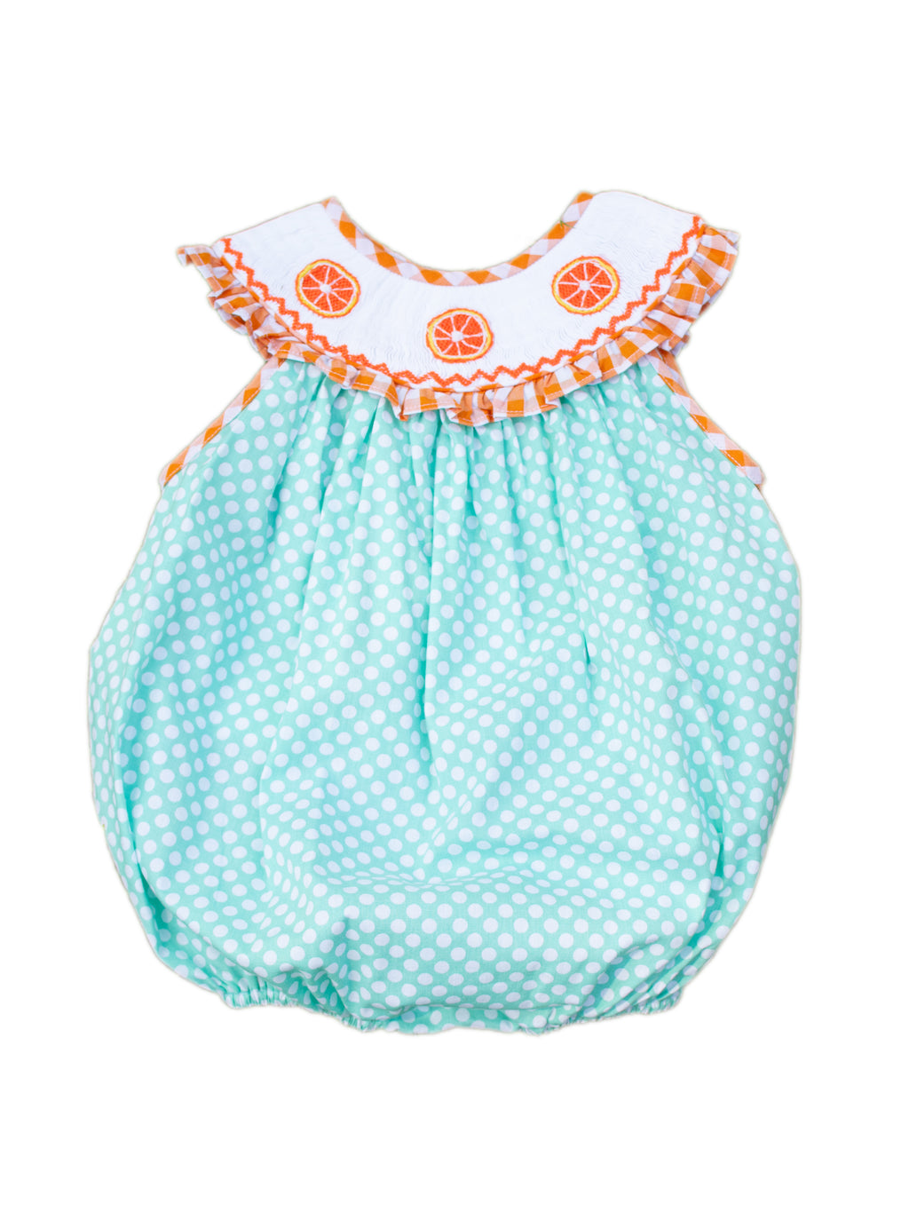 Girls Smocked Orange Bubble