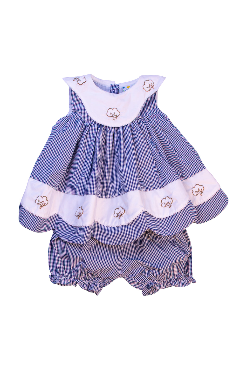 Girls Embroidered Navy Cotton Bloomer Set