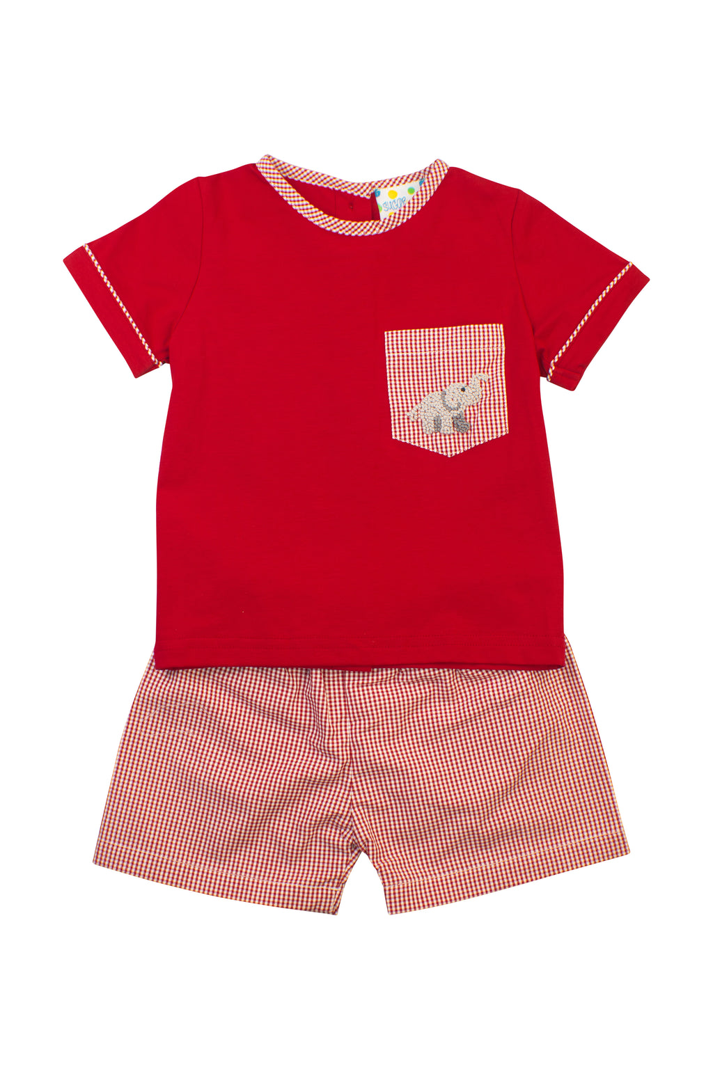 Boys French Knot Elephant Shorts Set