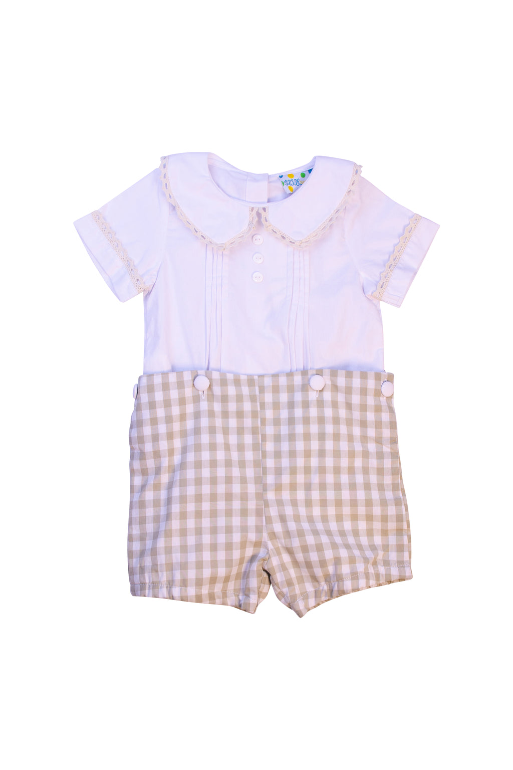 Boys Pleated White/Khaki Check Button On Short Set