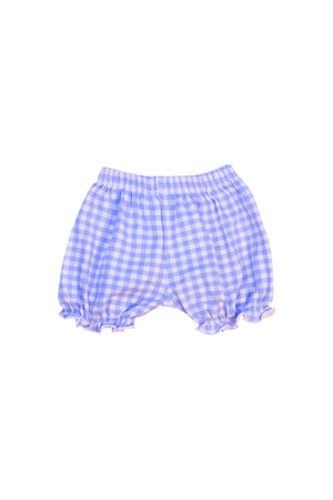 Girls Blue Check Knit Bloomers