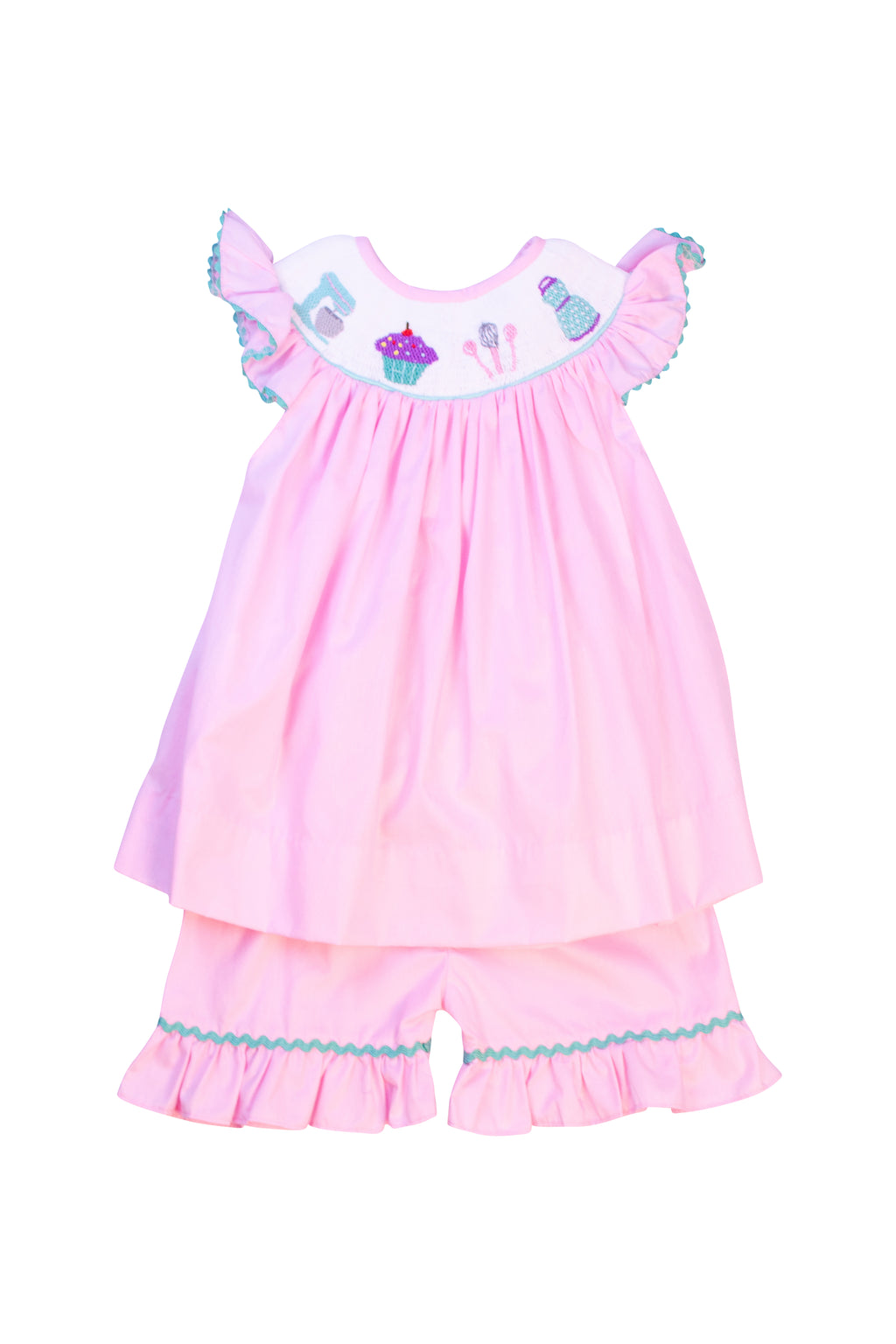 Girls Smocked Baking Short Set
