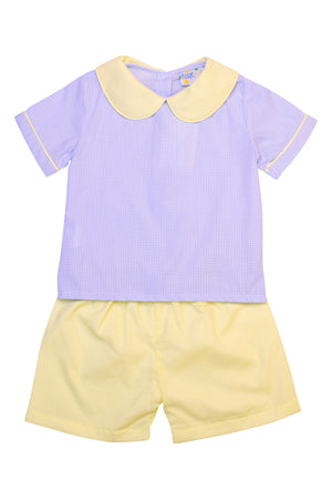 Boys Blue Gingham and Yellow Short Set