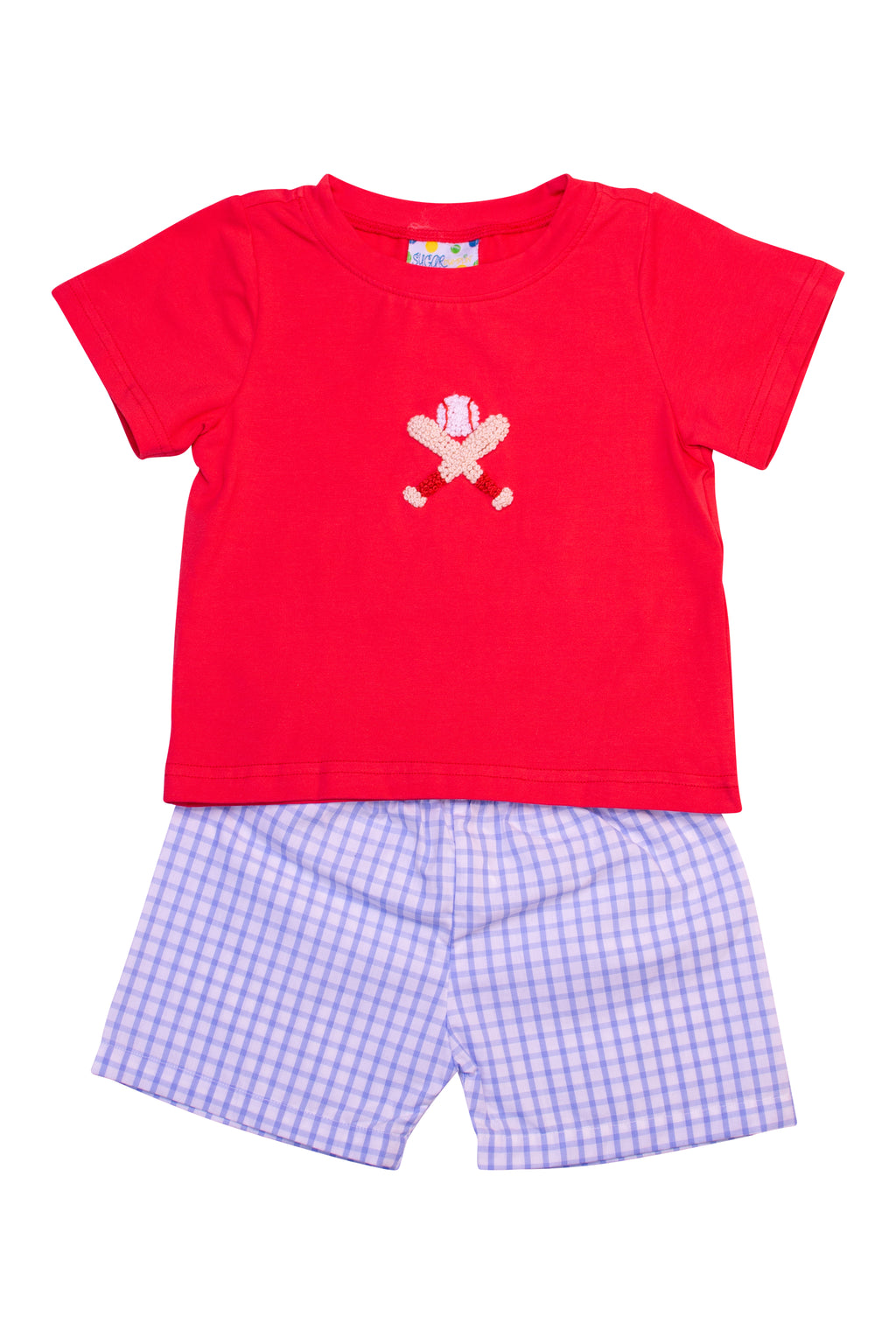 Boys French Knot Baseball Shorts Set
