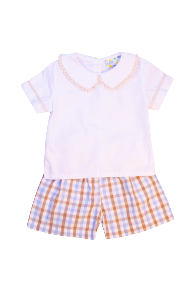Boys Blue/Khaki Plaid Collared Short Set