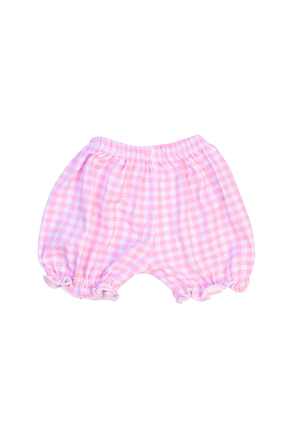 Girls Pink Check Knit Bloomers