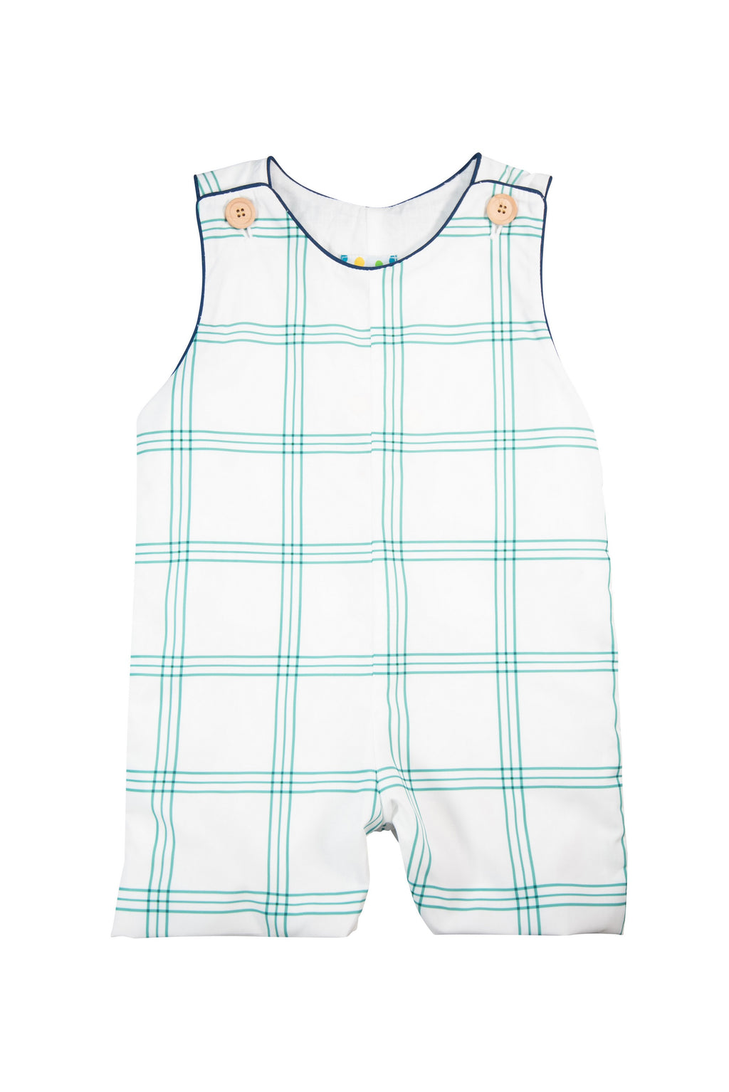 Boys Green and Navy Plaid Shortall
