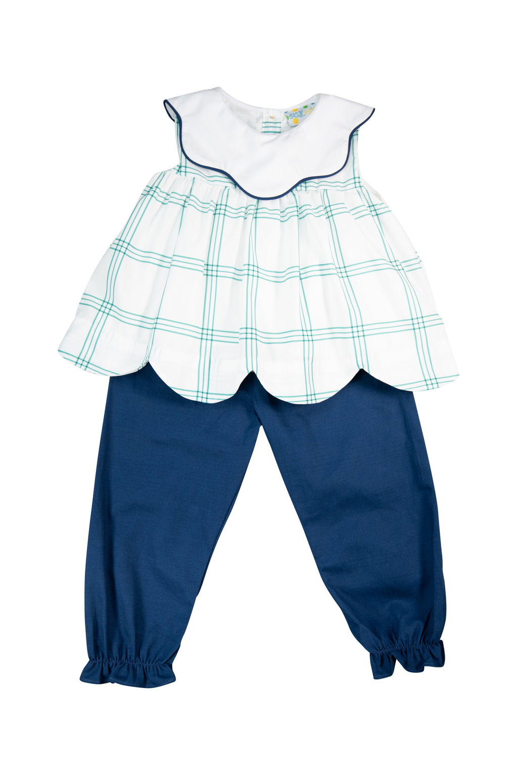 Girls Green and Navy Plaid Pant Set
