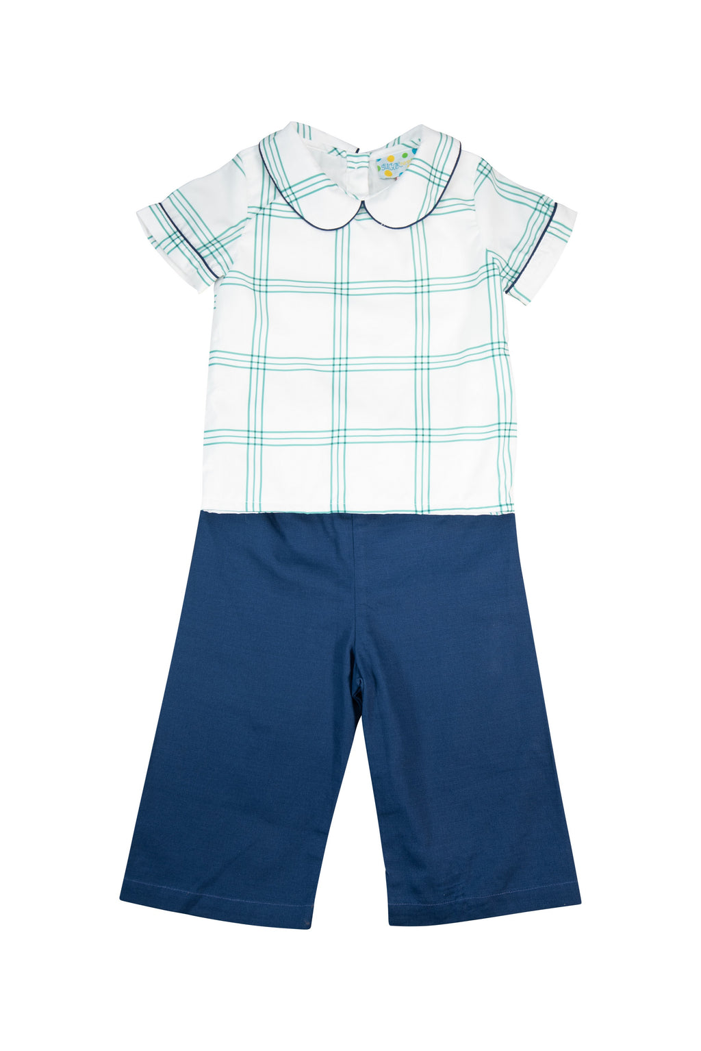 Boys Green and Navy Plaid Pant Set
