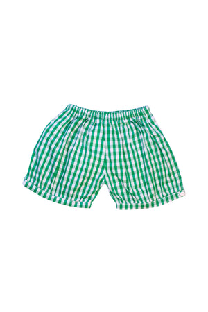 Unisex Green Check Banded Shorts