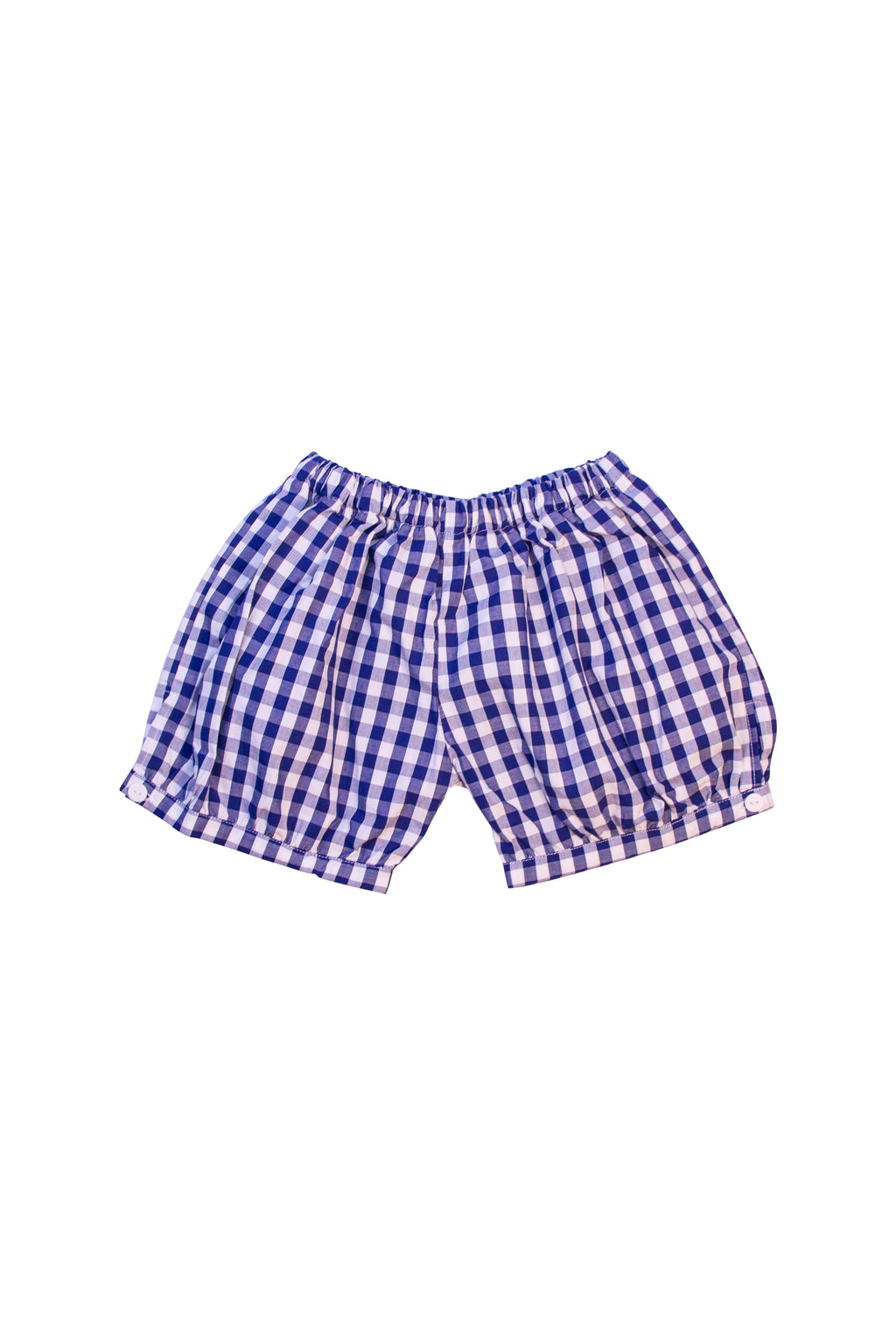 Unisex Navy Check Banded Shorts