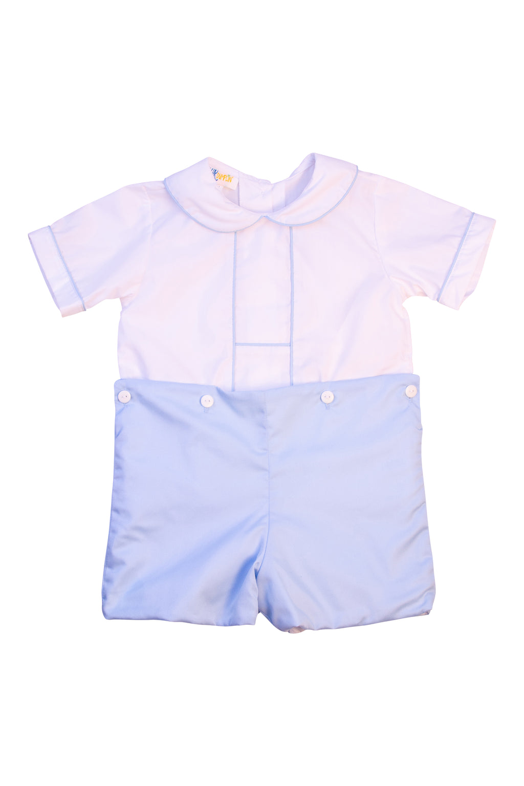 Boys White/Blue Button-On Short Set
