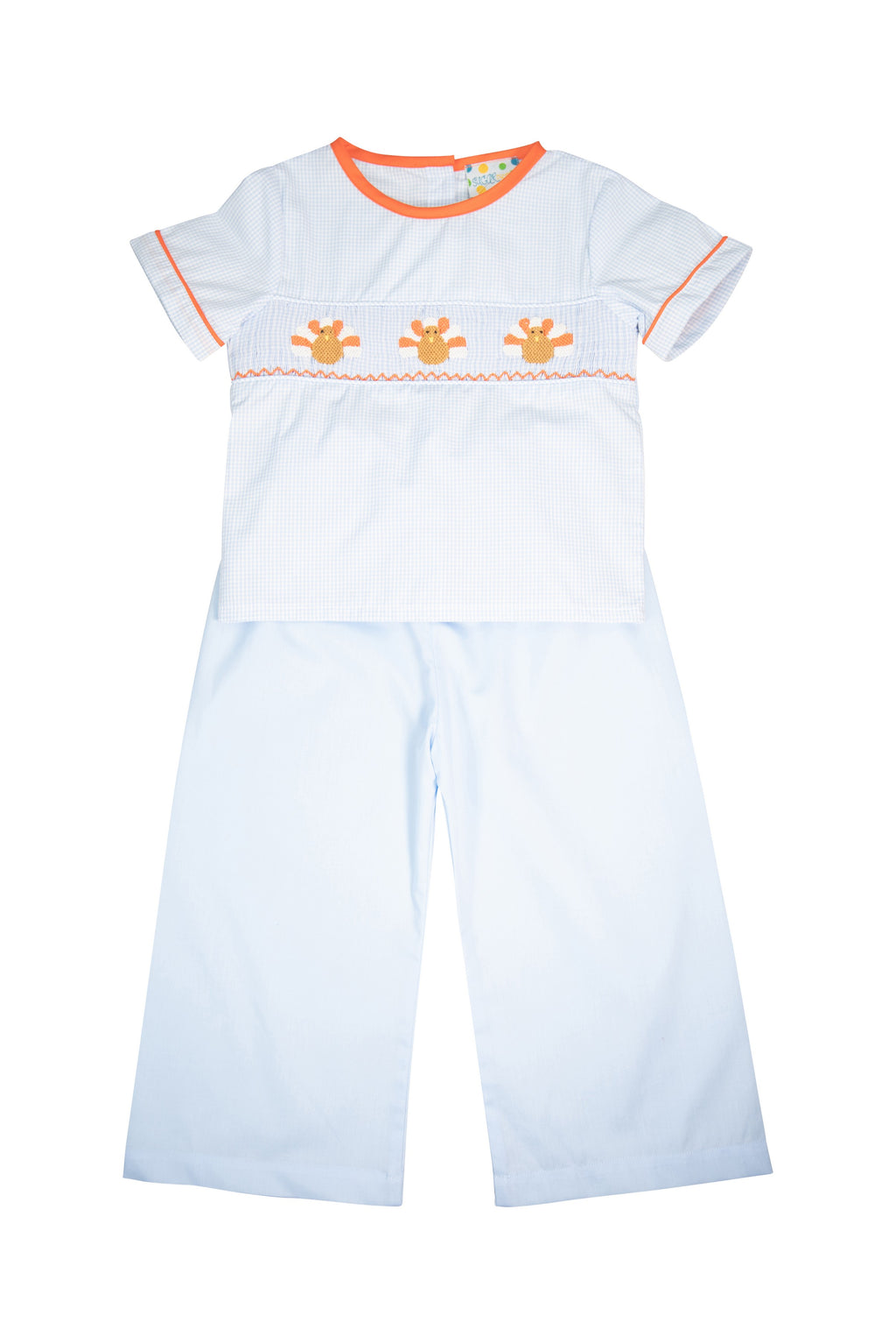 Boys Blue Smocked Turkey Pant Set