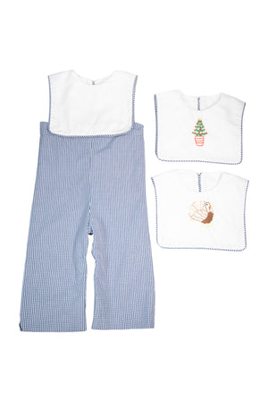 Boys Navy Holiday Button on Longall