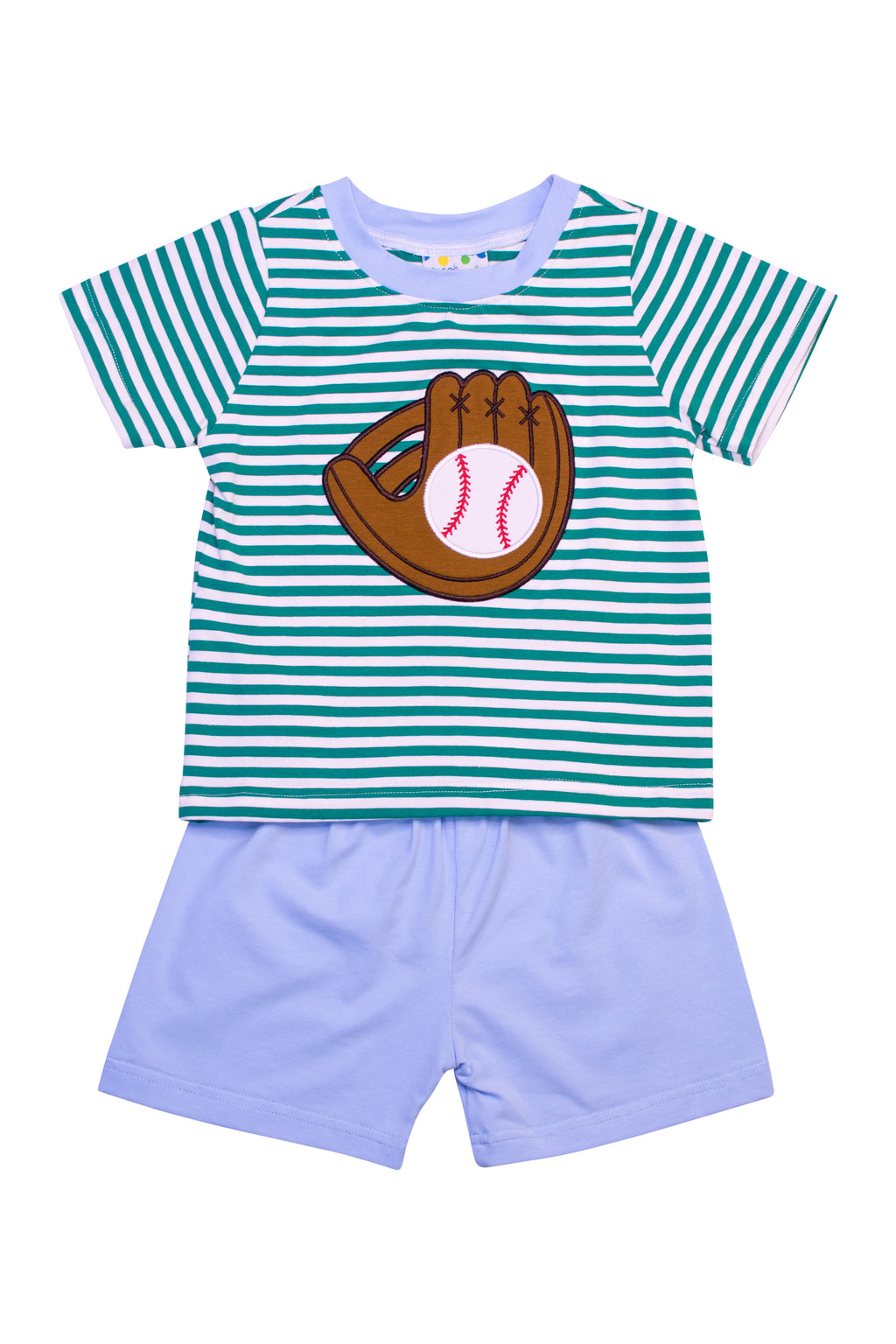 Boys Green/Blue Stripe Baseball Short Set