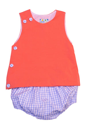 Boys Coral and Blue Check Diaper Set