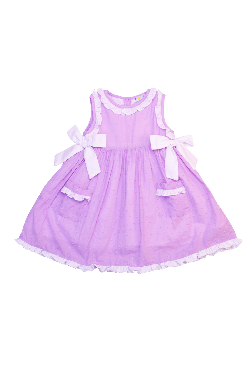 Girls Lavender Swiss Dot Dress