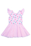 Girls Knit Floral/Check Twirl Dress