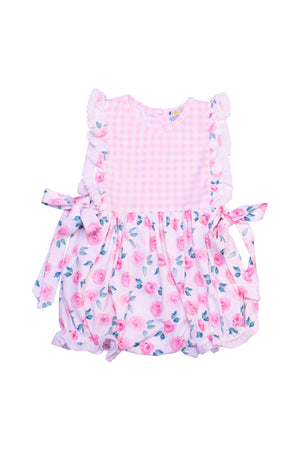 Girls Knit Floral/Check Bubble