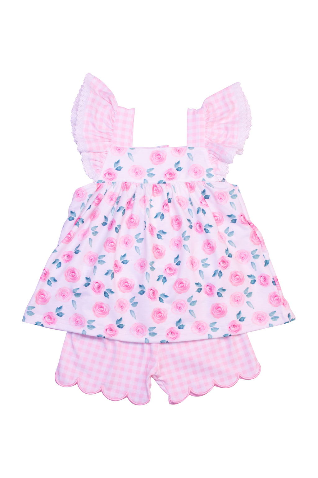Girls Knit Floral Short Set