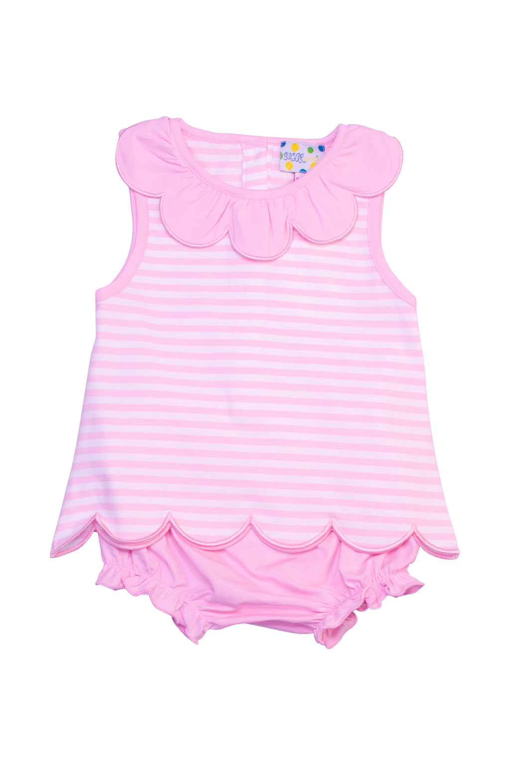 Girls Pink Stripe Scallop Bloomer Set