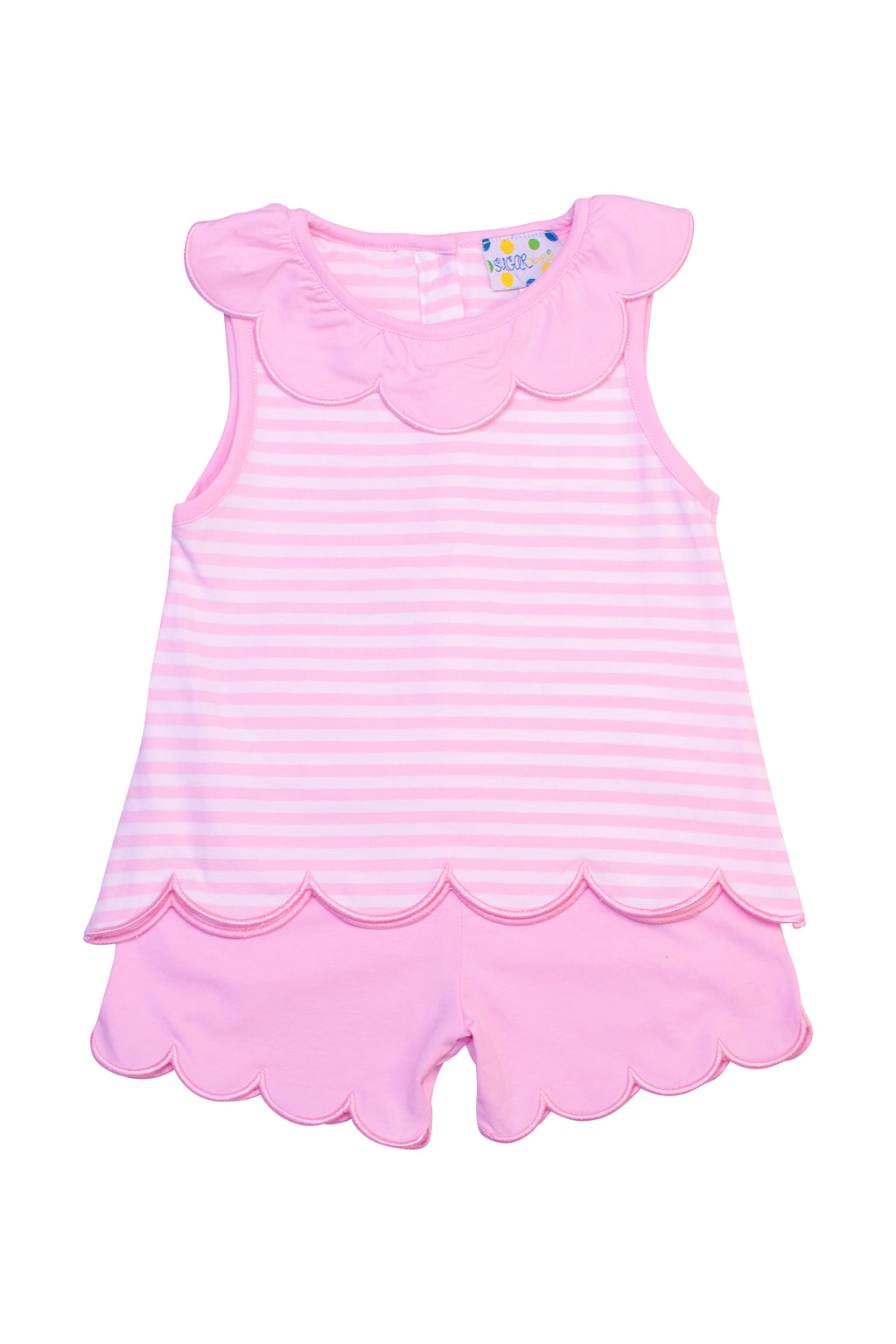 Girls Knit Pink Stripe Scalloped Short Set