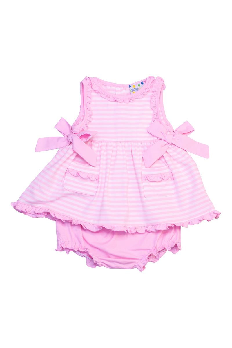 Girls Pink Stripe Ruffle Bloomer Set