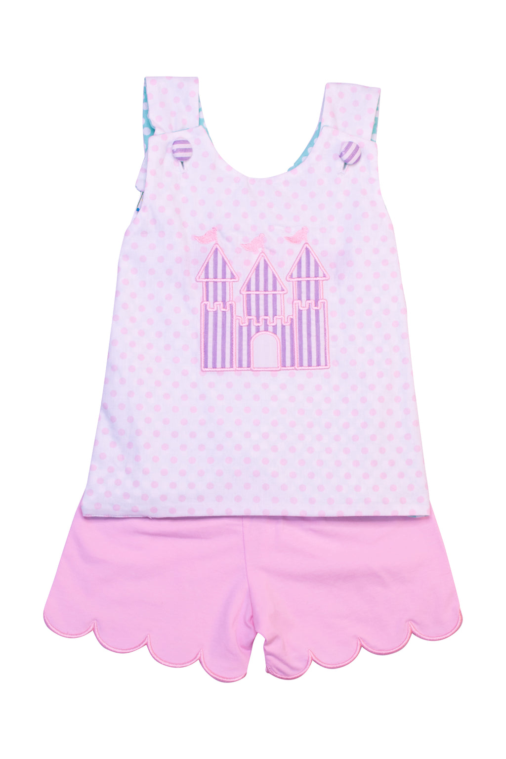 Girls Reversible Castle/Tea Party Short Set