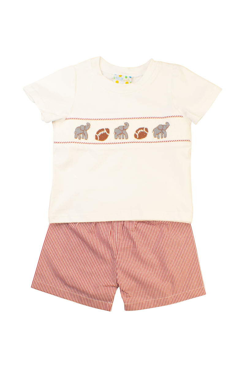 Boys Smocked Elephant Shorts Set