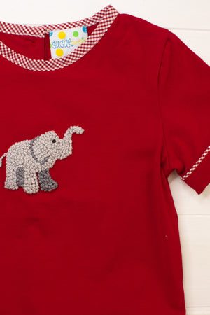 Boys French Knot Elephant Diaper Set