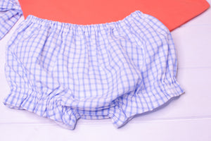 Girls Coral and Blue Check Bloomer Set