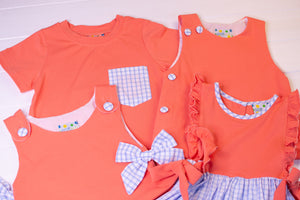 Boys Coral and Blue Check Short Set