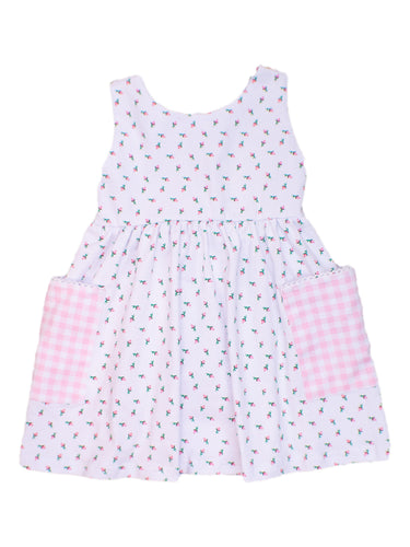 Girls White Flower Dress with Pink Gingham Pockets