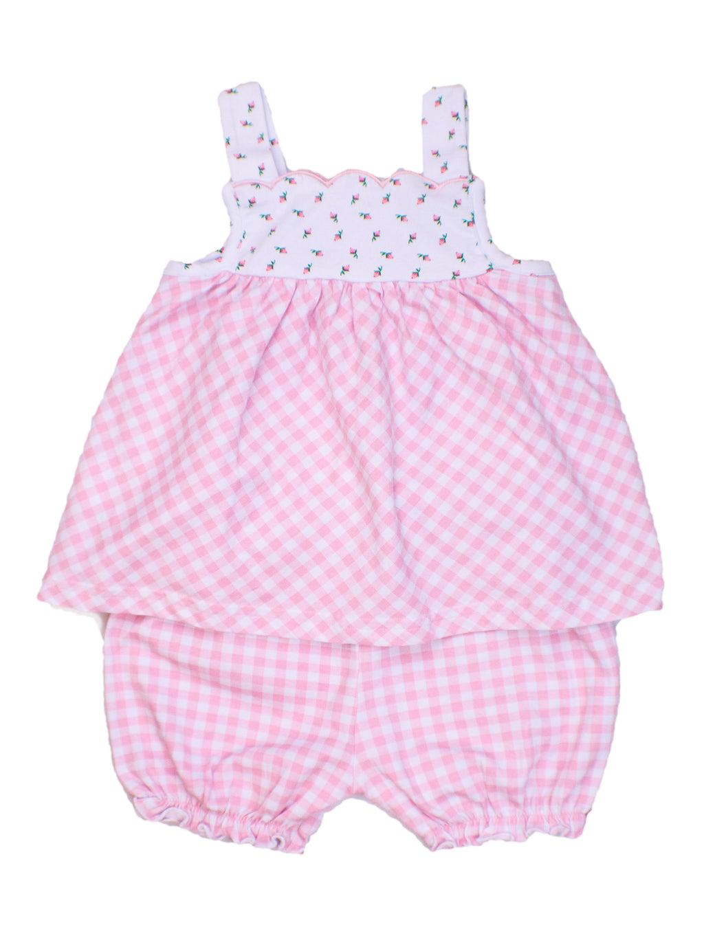 Girls Knit Floral/Pink Check Scalloped Bloomer Set