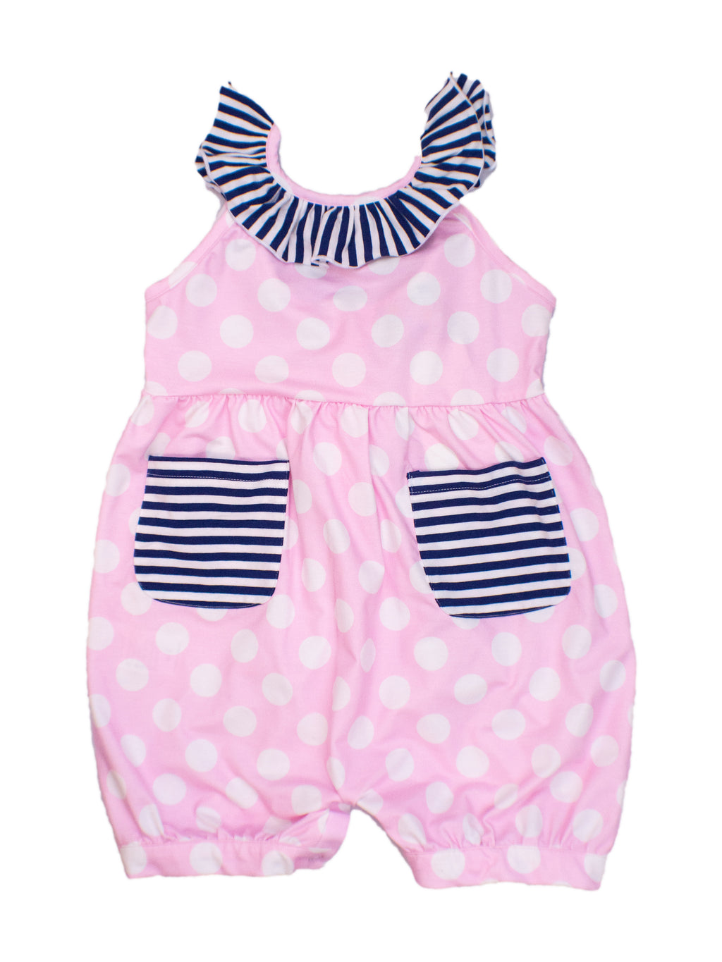 Girls Pink Polkadot/Navy Stripe Romper