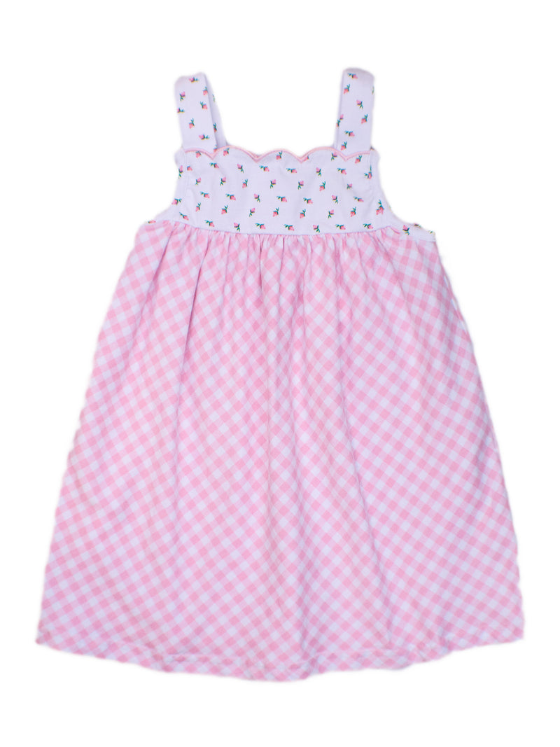 Girls Pink Gingham with Flowers Dress
