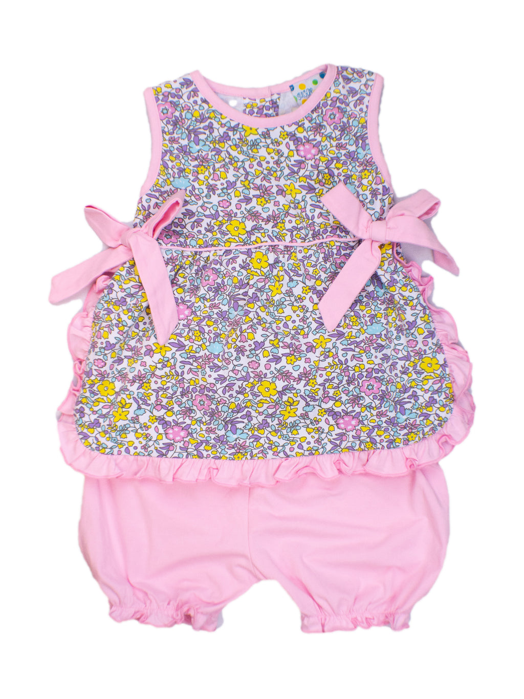 Girls Floral Bloomer Shorts Set with Pink Bows