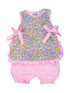 Girls Floral Bloomer Set with Pink Bows