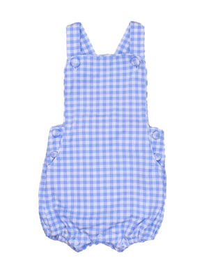 Boys Knit Blue Gingham Sunsuit
