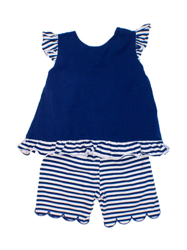 Girls Navy Stripes Short Set