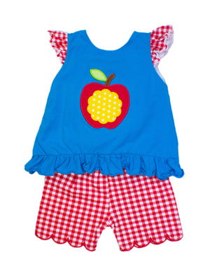 Girls Apple Appliqué Short Set