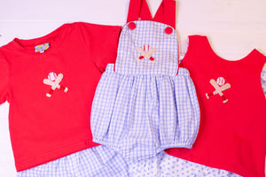 Girls French Knot Baseball Bow Bloomer Set