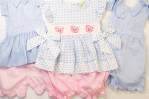Girls Blue Pin Dot Tie Top Shorts Set