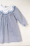 Girls Navy Windowpane Dress