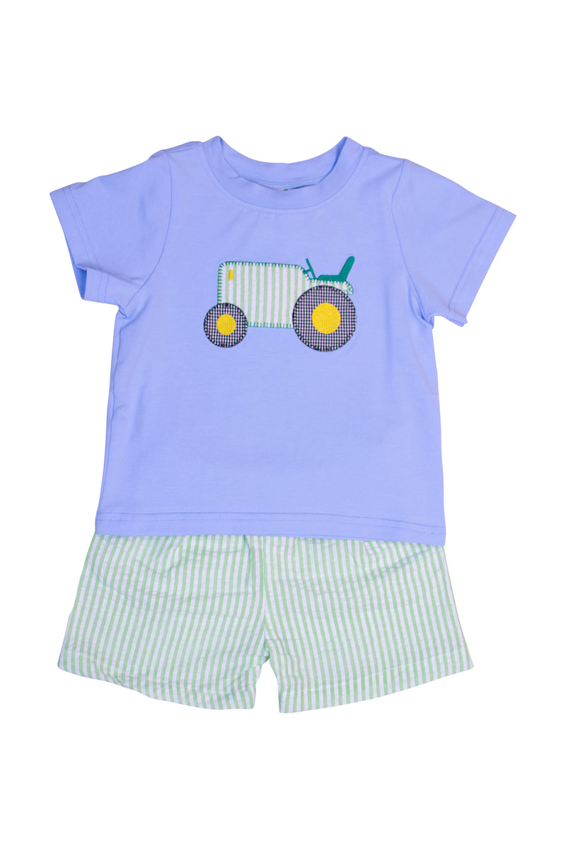 Boys Knit Tractor Shorts Set