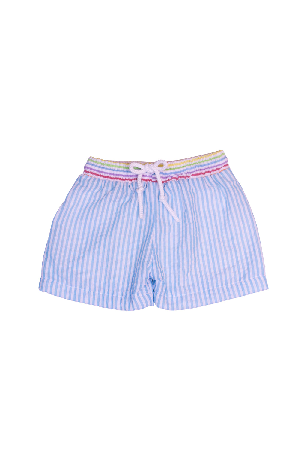 Aqua/Multicolor Seersucker Swim Trunks
