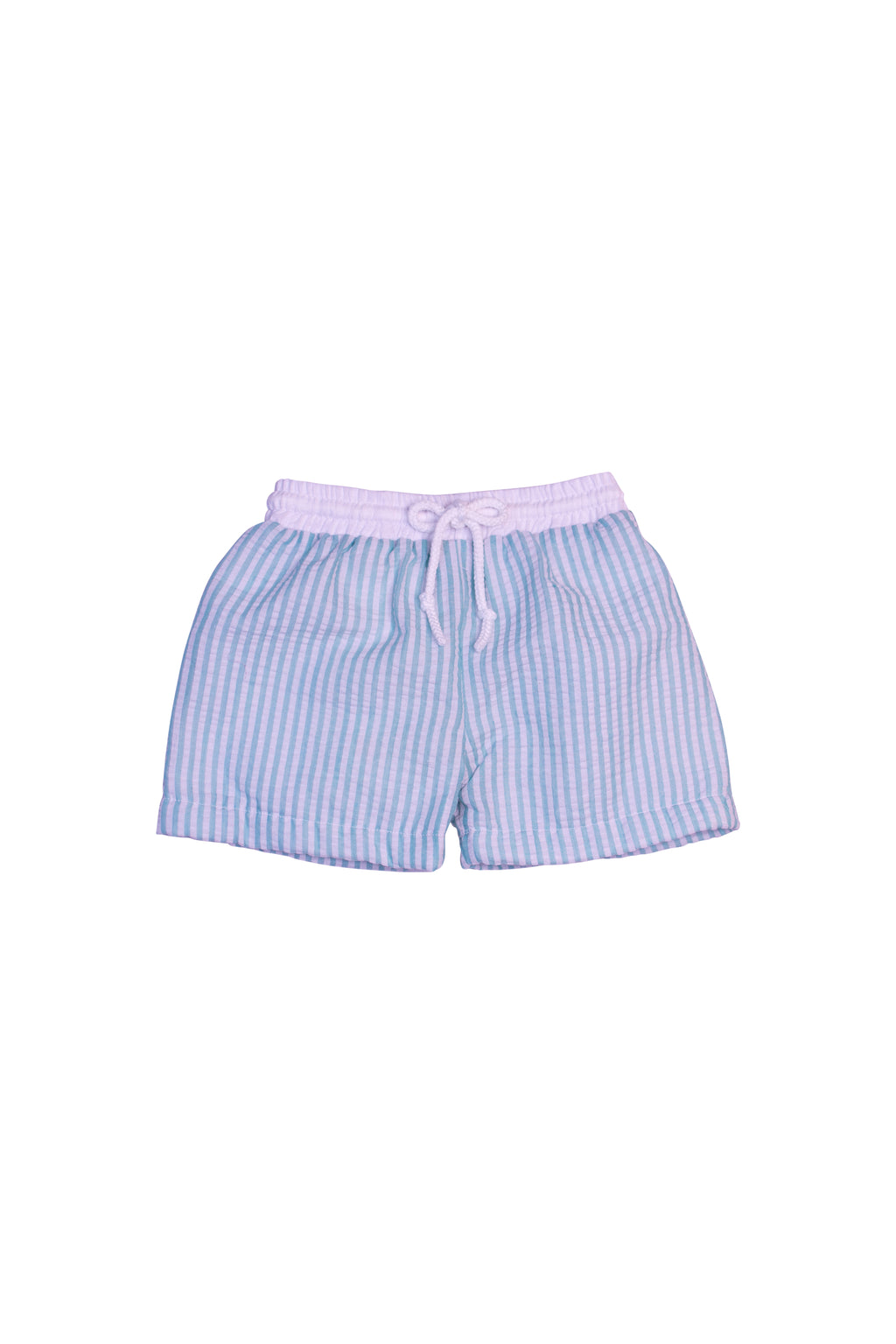 Boys Mint/White Seersucker Swim Shorts